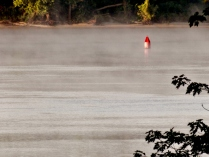 Steam off the mighty Mississippi in the morning chill, IA. Copyright Robert Hartwig.